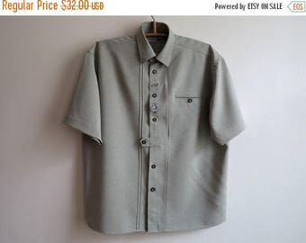 ON SALE Pale Green Mens Dirndl Shirt Short Sleeves Button up Trachten German Folk Oktoberfest Peasant Size Large
