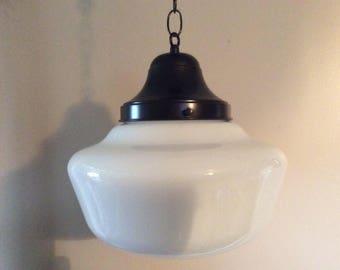 "Antique Hanging School House Pendant Light 12"" Shade 1920s Milk Glass Store Light Original Parts"