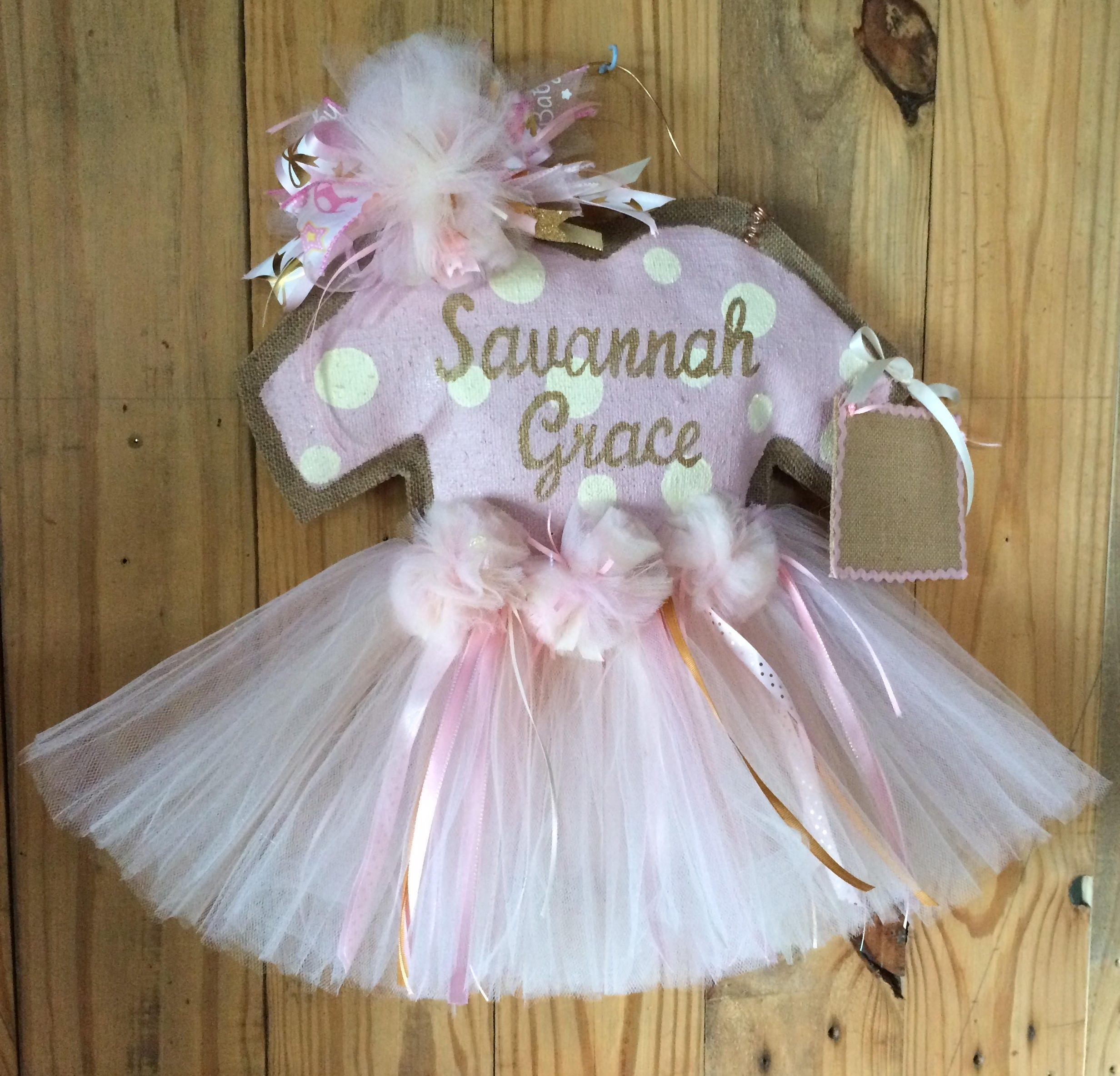 Baby girl hospital door hanger rose gold baby girl tutu door for Baby girl hospital door decoration