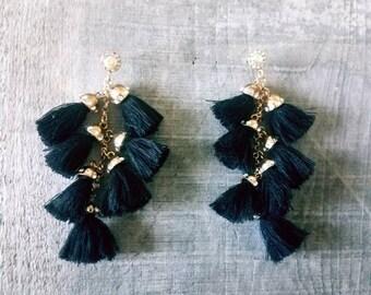 Black tassel earrings  Tassel earrings  long earrings  chandelier earrings  colorful earrings  statement earrings  tassel  tassel jewelry