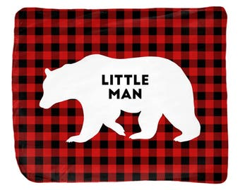 Buffalo plaid baby blanket, little man, baby shower, crib blanket boy, toddler gift personalized, kids room decor