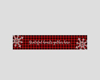 Flannel table runner, grateful hearts gather here, Christmas decor, new years table runner, red buffalo plaid, lumberjack decor