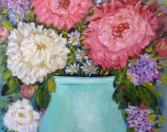 "Original still life oil painting , "" happiness""  modern floral bouquet of peonies in pretty blue teal vase  14  X14"