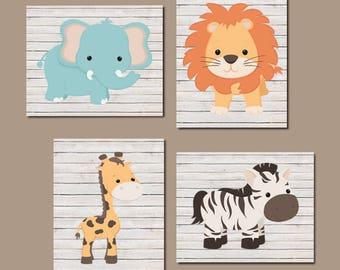 Baby Animal Nursery Safari Nursery Art Prints Or Canvas Set Of 4 Jungle Animals Boy Nursery Pictures Baby Boy Nursery Decor Vintage Wall Art