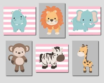 Pink Gray Nursery Girl Nursery Decor Jungle Animals Zoo Animals Nursery Wall Art Safari Animals Set of 6 Prints Or Canvas Baby Animal Prints