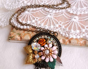 Vintage inspired necklace enamel pink flower brass leaves rhinestone assemblage necklace flower pendant Cottage chic necklace