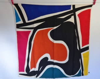 """Vintage Abstract Alphabetical Silk Scarf hand rolled 32.6"""" x 33"""""""