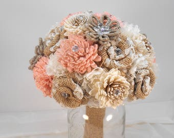 Sola Wedding Bouquet, Sola Bridal Bouquet, Sola and Burlap, Sola Bridesmaid, Pink Bouquet, Rustic Bouquet, Burlap Wedding, Burlap Bridal