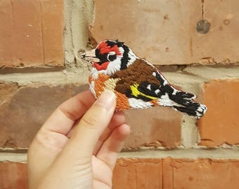 Hand Embroidered Goldfinch Brooch