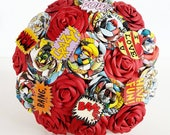 Paper Flower Wedding Origami Rose Bouquet comic book marvel superhero red rose theme wedding alternative shoes dress