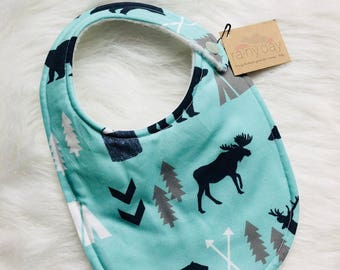 Baby Boy Bib. Navy. Grey. Moose. Trees. Arrows. Hunting. Outdoors. Trendy. Hipster. Drooling. Newborn. Feeding.