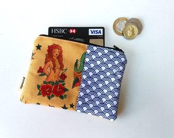 coin purse, tattoo coin purse, small purse, small zipper pouch, purse