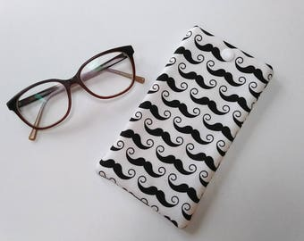 Moustache glasses case, glasses case, sunglasses case, fabric glasses case