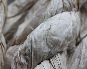 NEW** -  Recycled Sari Silk Ribbon - Natural Golden Cream