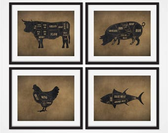 Butcher Diagram Art Prints, Cow Butcher Chart, Set of 4 Prints, Meat Cuts, Rustic Kitchen Art, Kitchen Decor, Rustic Art, Butcher Prints