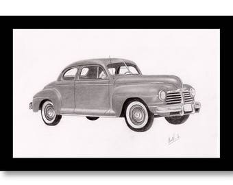 car art pencil drawing of a 1942 Plymouth coupe