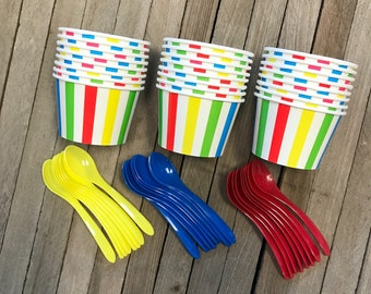 Circus Ice Cream Set, Striped Treat Cups, Disposable Ice Cream Dishes, Set of 24 Dishes and Spoons