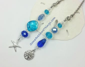 Coastal Theme Ceiling Fan and Light Pull Chain Set with Starfish and Sand Dollar Charms.  Blue Home Decor. Beach Housewarming Gift Idea.