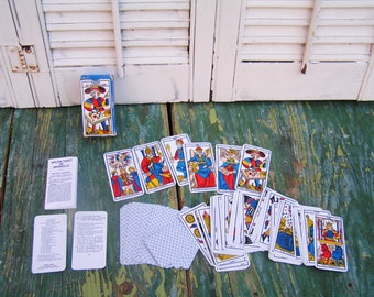 Vintage 1982 Travel Size Tarot of Marseilles Tarot Cards in Original Box with Instructions Made in France Ancien Tarot de Marseille Complete