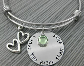I Love You More Than That Bracelet / Adjustable Wire Charm Bangle / Hand Stamped Charm Bracelet / Personalized Anniversary Gift