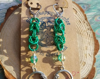 Mermaid chainmaille dangle earrings