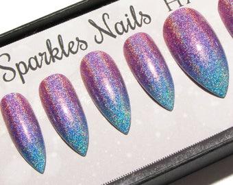 Ombre Nails Holographic  - Stiletto False Nails - Holo Press On Nails - Extra Small Fake Nails - Acrylic Nail Set - Glue On Artificial Nails