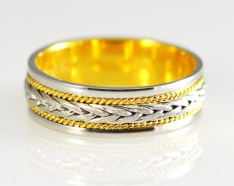 Platinum and 18k Yellow Gold Two Tone Band