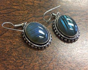 VINTAGE Sale: Blue Labradorite Dangle Earrings - Labradorite Dangle Earrings - Labradorite Earrings - Blue Labradorite Dangle Earrings