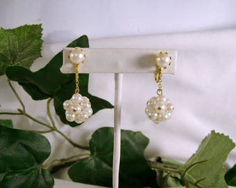 Vintage Faux Pearl Cluster Gold Drop Dangle Clip Earrings