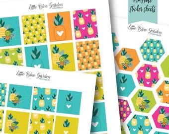 Pineapple Printable Planner Sticker Kit, Decorative Planning Bundle, Instant Download Stickers, Planner Printables, Summer Planning Stickers