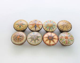 Set of 8 Nautical Compass Cabinet Knobs