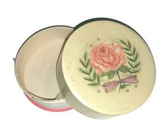 Shabby Roses POWDER BOX 50s 60s AVON Makeup Vintage Vanity, Rosy Jewelry Trinket Box, 1950s Beauty Cosmetics Pink Floral Girly Boudoir Decor