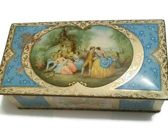 Stunning Antique Romantic Tin, Lithograph Courtship Tin Jewelry Box Victorian Edwardian Jewellery Trinket Box Tin Gift Wedding Presentation