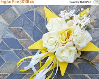 On Sale Flower-girl Floral Wand -  Yellow Star Wand with Butterflies for Flowergirl, Wedding Flowers for Flowergirl