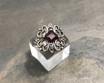 Size 7, antique Sterling silver handmade ring, solid 925 silver filigree hearts with square shaped ruby, stamped 925 NV 7