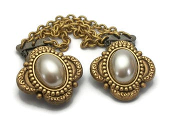 Vintage Sweater Clips - Faux Pearl Cabochon Gold Tone Sweater Guard - Dress Cinch Clips - Elegant Collar Clips