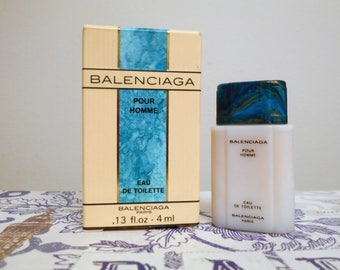 vintage Balenciaga Pour Homme eau de toilette, 4 ml / 0.13 fl. oz. miniature splash bottle, mini bottle, men's fragrance.