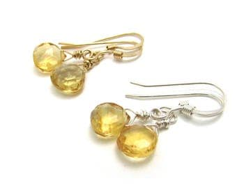 Small citrine earrings, gold fill or  silver wire wrapped earrings, November citrine birthstone earrings, citrine gemstone, citrine jewelry