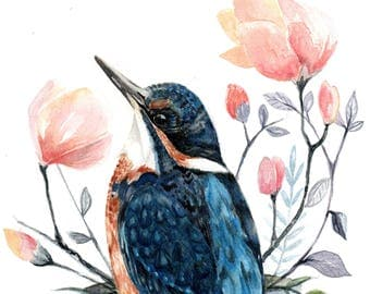 kingfisher No 2, water color print