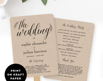 Wedding Program Fan or Flat Wedding Program Templates - Printable Instant Download - Rustic Branches #RBC