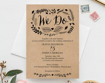 Printable Wedding Invitation Set - Wedding Invitation Template - Wedding Invitation Suite - RSVP - Details Card - Instant Download Woodland