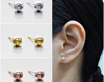 925 Sterling Silver Earrings, Ball Earrings, Dot Earrings, Gold Plated, Rose Gold Plated Earrings, Stud Earrings Size 5 mm (Code : EB75C)