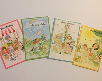 Set of (4) - Vintage 70s Kitsch Birthday Cards, Summer/Spring Themes, Coronation Collection, Made in the USA