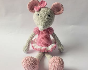 Crochet Mouse, Amigurumi Ballerina Mouse, Pink, Grey