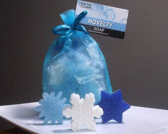 Snowflake Soap - Winter Soap, Winter Onderland, Soap Gift, Holiday Soap Gift, Teacher Gift - 10 pc