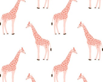Pink Giraffe Nursery Fabric by the Yard organic cotton minky jersey knit childrens fabric baby fabric quilting safari animal fabric 6195289