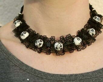 Crew neck Black Lace and Pearl Chinese STYLE BAROQUE