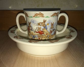 Vintage Royal Doulton Bunnykins English Fine Bone China Child's Cup and Bowl