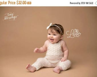 SALE Ivory Mohair Sitter Set, Photo Prop, Mohair Photo Prop, Mohair Romper