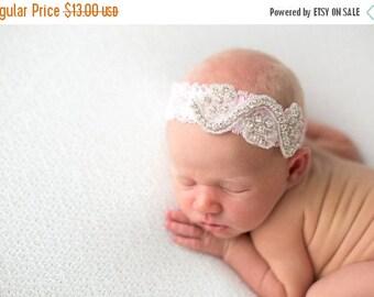 SALE Baby Pink Rhinestone Lace Halo, Pink Lace Headband,  Beautiful Newborn Photo Prop,  Newborn Headband
